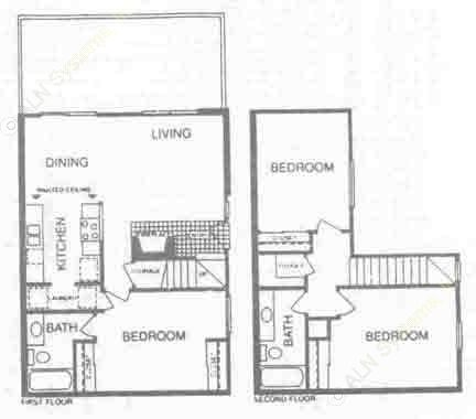1,155 sq. ft. B floor plan