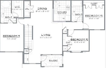 1,177 sq. ft. GIJON/60 floor plan