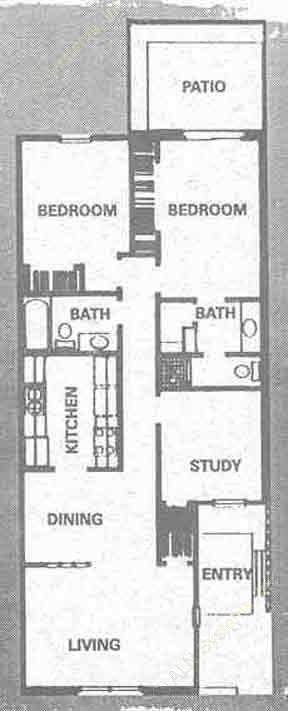 1,015 sq. ft. A floor plan