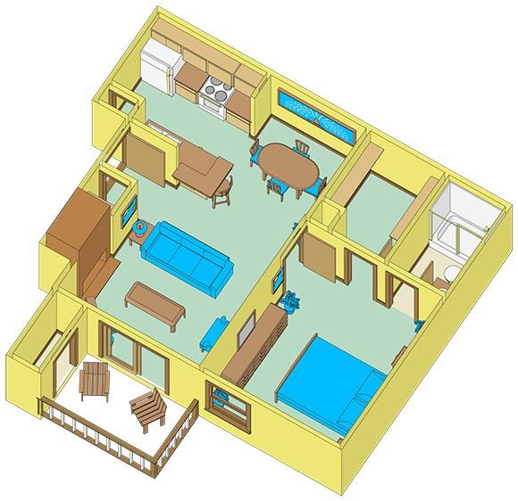 610 sq. ft. A1 floor plan