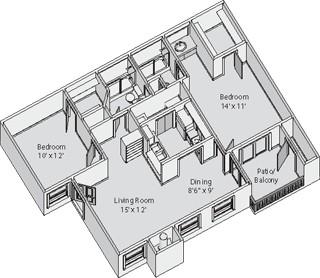 929 sq. ft. SAVANNAH floor plan
