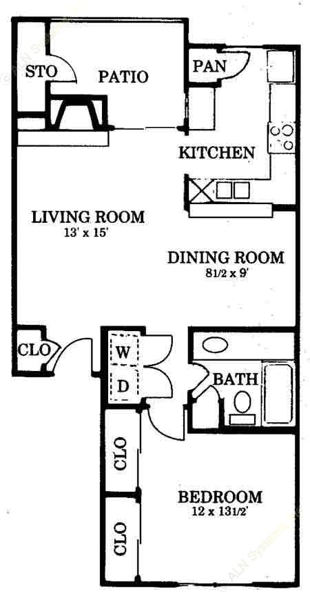 768 sq. ft. A3 floor plan