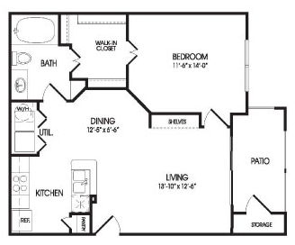 724 sq. ft. Zavala floor plan