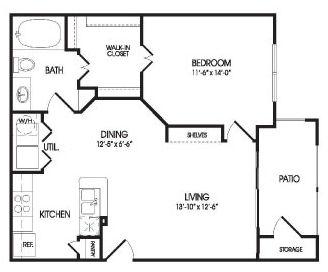 724 sq. ft. Zavala floor plan