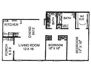 1,036 sq. ft. 60 floor plan
