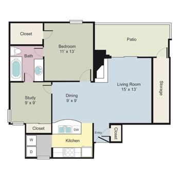 863 sq. ft. Montrose floor plan