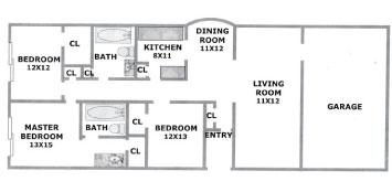 1,524 sq. ft. WILLOW/GAR floor plan