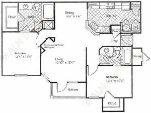 1,124 sq. ft. PEBBLE BEACH floor plan