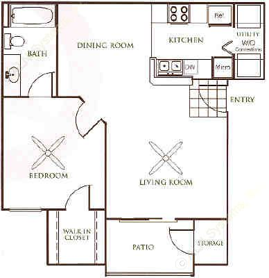 662 sq. ft. A1 floor plan