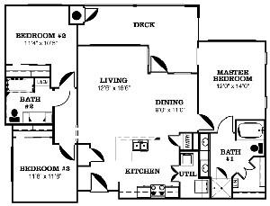 1,560 sq. ft. CONGRESS-H floor plan