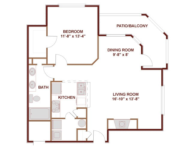 779 sq. ft. to 895 sq. ft. 11B floor plan