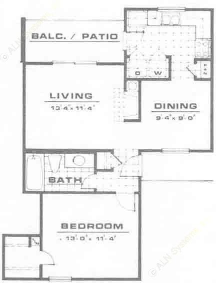 674 sq. ft. A2 floor plan