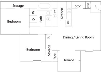 781 sq. ft. B-1 floor plan