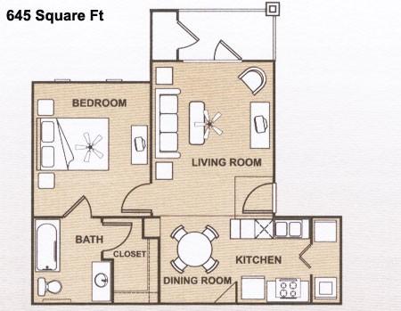 645 sq. ft. 60 floor plan