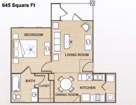 645 sq. ft. 60 floor plan