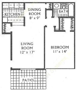 670 sq. ft. C floor plan