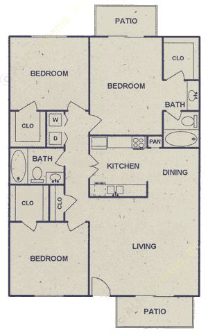 1,150 sq. ft. floor plan