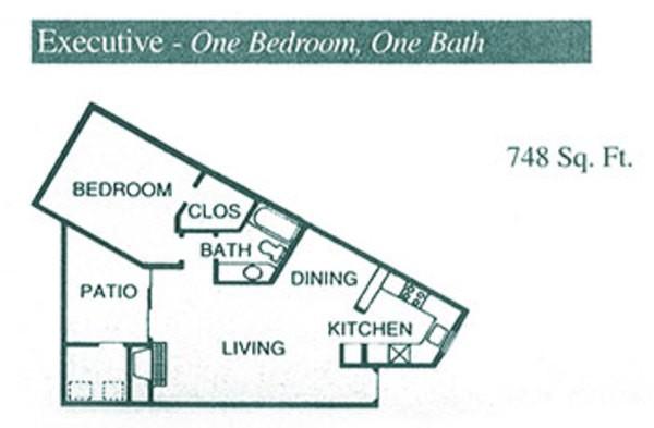 748 sq. ft. A4 floor plan