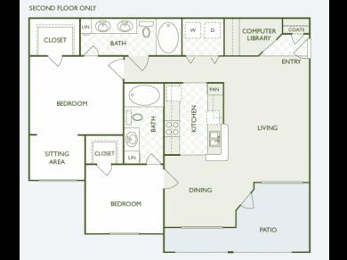 1,153 sq. ft. B6.2 floor plan