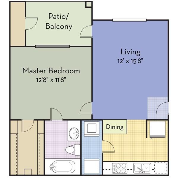 639 sq. ft. SAN PABLO floor plan