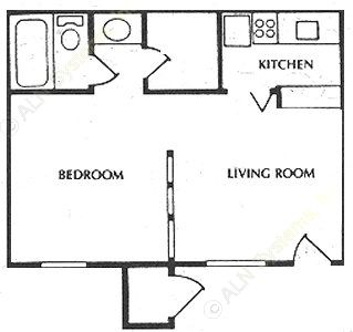 380 sq. ft. A1 floor plan