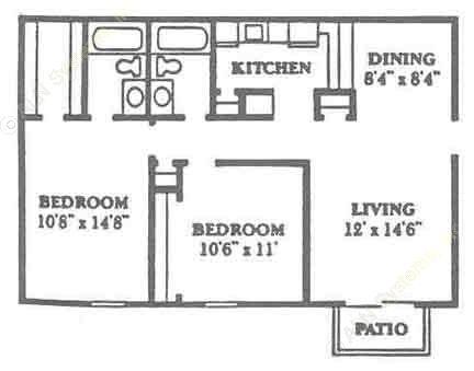 876 sq. ft. B1 floor plan