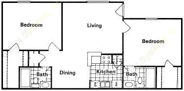 844 sq. ft. floor plan