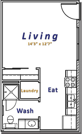 750 sq. ft. Efficiency floor plan