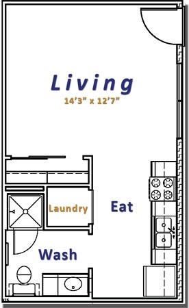 750 sq. ft. Efficiency floor plan