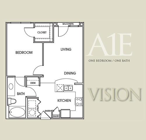 680 sq. ft. A1E floor plan