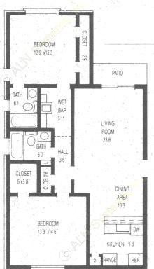 1,000 sq. ft. floor plan