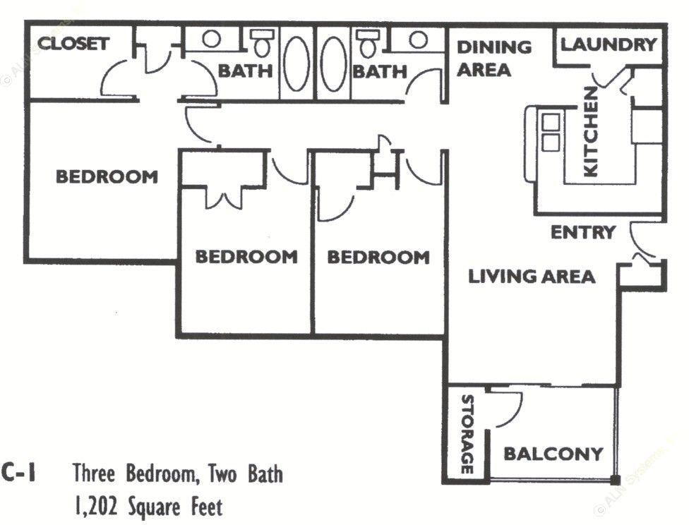 1,202 sq. ft. C1 floor plan