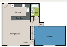 730 sq. ft. A2 floor plan