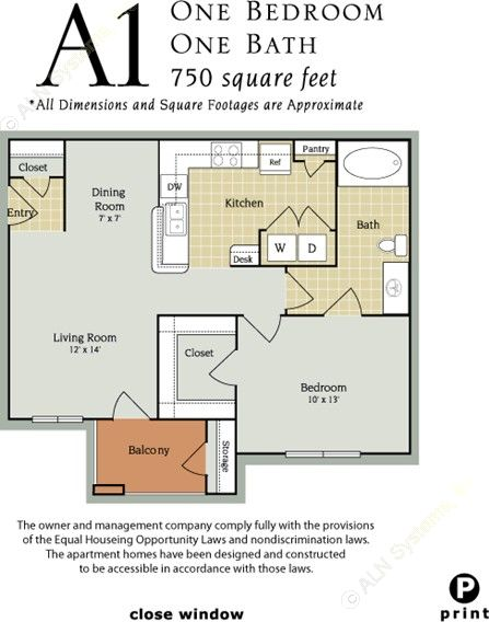 750 sq. ft. A2/60% floor plan