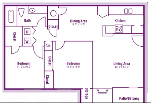 854 sq. ft. B1 floor plan