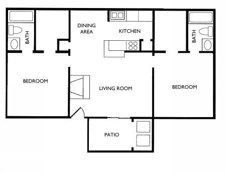 873 sq. ft. B2 floor plan