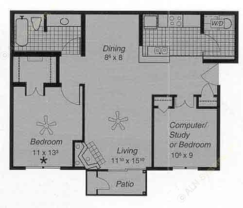 850 sq. ft. I F floor plan