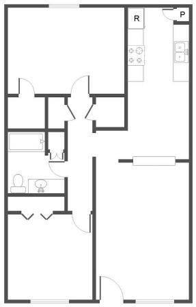 932 sq. ft. D floor plan