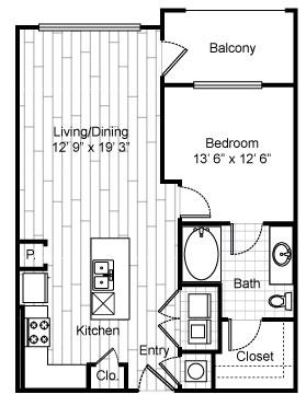 763 sq. ft. A5 floor plan