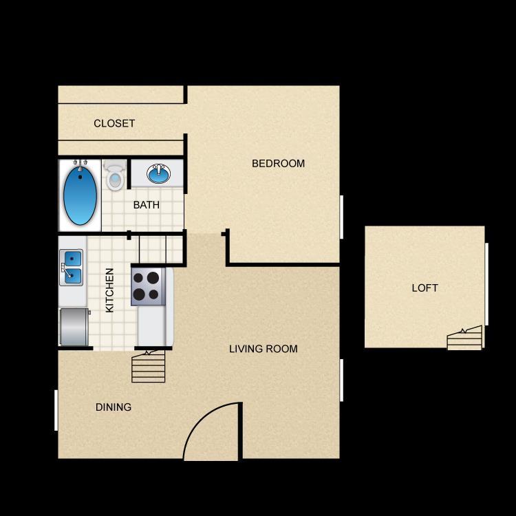 633 sq. ft. A6 floor plan