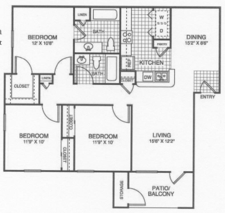 1,100 sq. ft. 60/RED ROSE floor plan