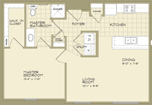 700 sq. ft. MAGNOLIA/60 floor plan