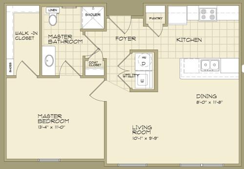 700 sq. ft. MAGNOLIA/60% floor plan