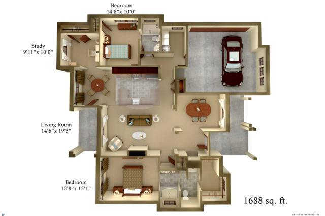 1,688 sq. ft. Cottage floor plan