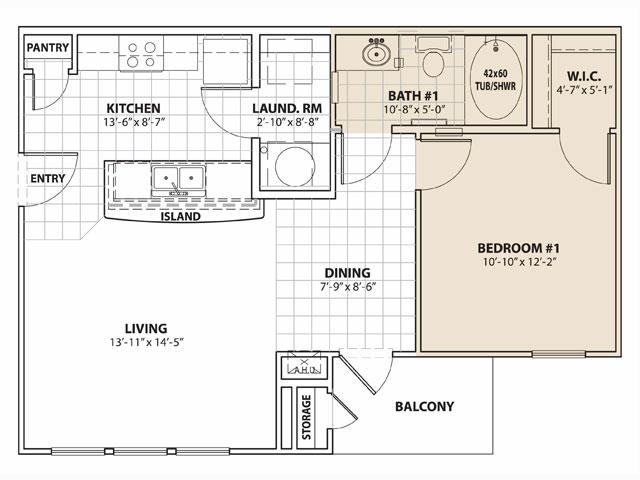 664 sq. ft. 50% floor plan