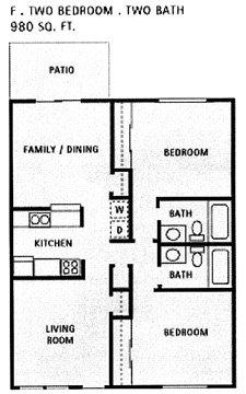 980 sq. ft. F floor plan