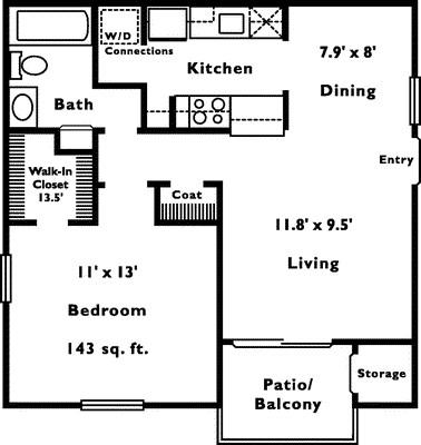 614 sq. ft. A-1 floor plan
