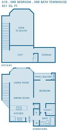 831 sq. ft. A10 floor plan
