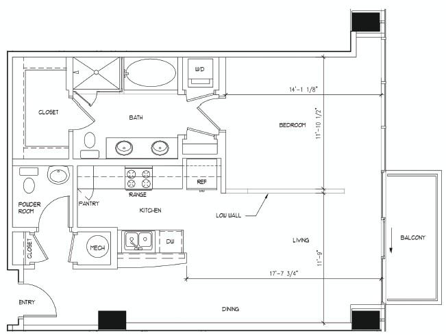 853 sq. ft. PICASSO floor plan