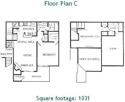 1,031 sq. ft. C floor plan
